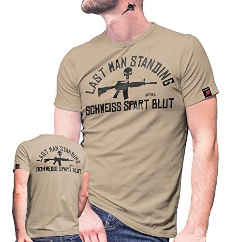 Last Man Standing Infidel Schweiß spart Blut KSK Einsatz Punisher T Shirt #30120, Farbe:Sand, Größe:Herren M