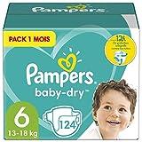 Pampers Couches Baby-Dry Taille 6 (13-18kg) Jusqu'à 12h Bien Au Sec et Avec Double-Barrière Anti-Fuites, 124 Couches (Pack 1 Mois)