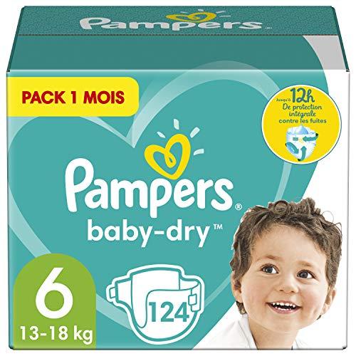 Pampers Couches Baby-Dry Taille 6 (13-18kg) Jusqu'à 12h Bien Au Sec et Avec Barrière Anti-Fuites, 124 Couches (Pack 1 Mois)