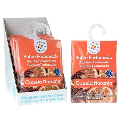 Set de 12 Sobres Perfumados, Bolsitas Aromáticas de Canela Naranja, Saquitos para el Armario, Cajón, Ropa de Bebé, Zapatero, Maleta