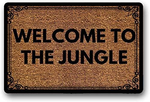 Solatman Welcome to The Jungle - Felpudo de goma antideslizante para decoración del hogar (45 x 75 cm)