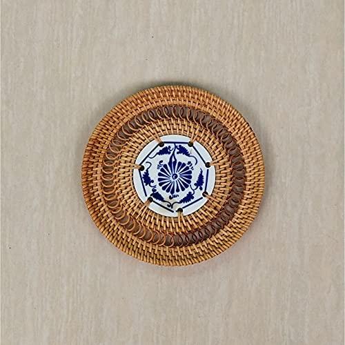bisinisi Pure Hecho a Mano Vine Azul Flor de la Taza de la Taza de la Taza del Almohadilla de la Almohadilla de la Almohadilla de los Accesorios del Accesorio del café. Adornos de Escritorio