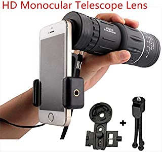 Fashionwu 16x52 High Power HD Monocular Telescope Lens Dual Focus Prism Scope with Night Vision –Includes Universal Smartphone Mount and Tripod Waterproof Fog Proof Compact 16X Zoom for All Outdoors