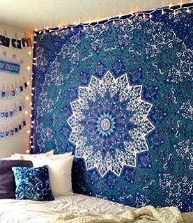 Jaipur Handloom Queen Tie Dye Bohemian Tapestry Elephant Star Mandala Tapestry Blue Tie Dye Star Design Indian Bedspread Twin Tapestry Hippie Wall Decor Mandala Bohemian Tapestry Psychedelic Tapestry