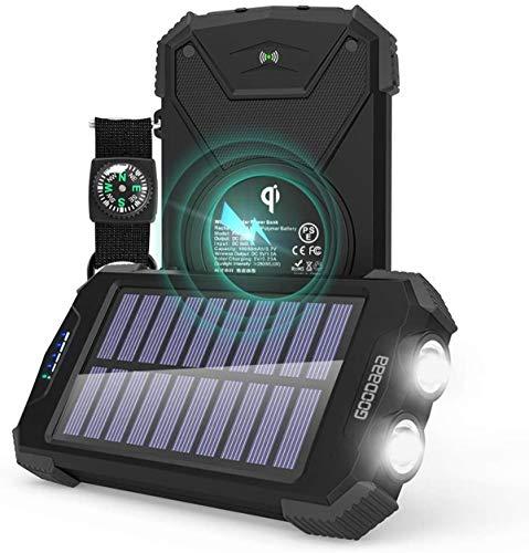 GOODaaa Solar Power Bank 10000mAh batería Externa USB de Alta Capacidad con 4 Paneles de Carga Solar Plegables, Linterna para teléfonos móviles iPhone Android (Negro)