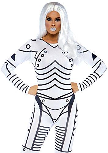 Leg Avenue 86639 - Killer Roboter sexy gedrucktes Catsuit, Damen Karneval Kostüm Fasching, L, weiß/schwarz