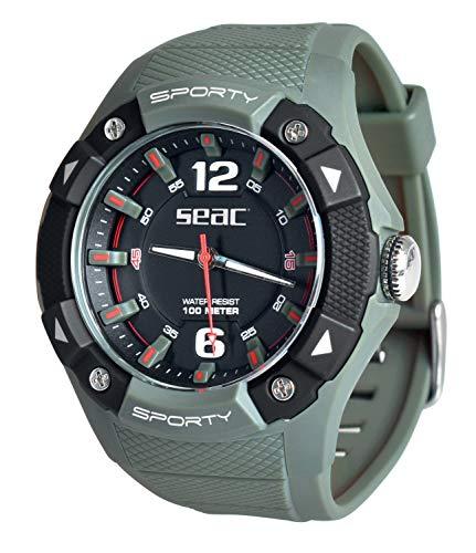 SEAC Sporty, Orologio Lifestyle all'Acqua 100 mt, Resistente Cinturino in Gomma Unisex Adulto, Verde, Standard