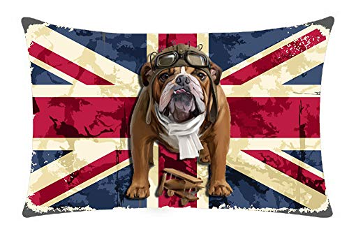 British Flag Retro English Bulldog Pilot Hat Wood Plane Dog Animal Best Gift Cotton Linen Throw Lumbar Waist Pillow Case Pillow Cover Cushion Cover Home Office Decorative Rectangle 12 X 20 Inches