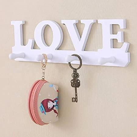 Amazon Com Key Hooks Decorative For Wall Love Key Holder Hooks For Wall Mount Towel Rack 4 Hooks White Home Dorm Decorative Office Products