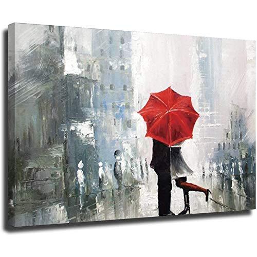 Stampa artistica da parete su tela Gli amanti bacio sotto la pioggia ombrello rosso romantico dipinto a olio su tela Home Deco Unframe-style1 20 × 30 cm