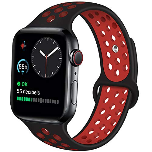 Kaome Compatible with App le Watch Band 44mm 42mm 40mm 38mm, Soft Silicone iWatch Bands Replacement Sport Bands Compatible with iWatch Series 5/4/3/2/1, S/M M/L