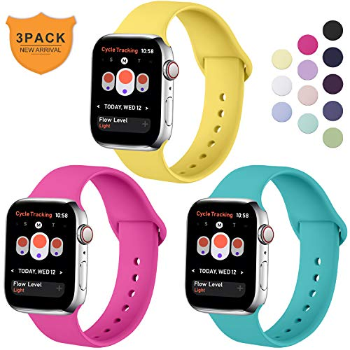 Hamily Armband Kompatibel für Apple Watch 38mm 40mm, Weiche Silikon Wasserdicht Ersatz Uhrenarmbänder für Apple Watch Series 5/4/3/2/1, S/M Neues Rosa/Teal/Mango Gelb