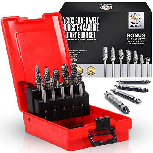 """10Pcs Carbide Burrs Set, UPGRADED YG10X Solid Tungsten Rotary Die Grinder Bits, Double Cut 1/4"""" Shank, Fits Dewalt, Milwaukee, Fordom & Makita Accessories + A Gift 4Pcs HSS-M2 Screw Extractors.(14Pcs)"""