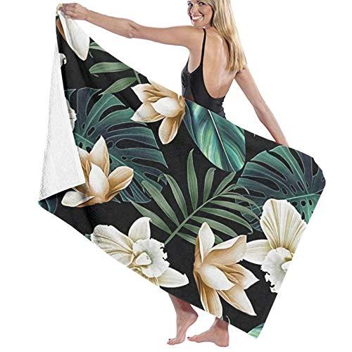 Toalla de playa de microfibra grande con flores tropicales florales, hojas de palmera (2) – 130 x 80 cm, toalla de microfibra ligera y seca, perfecta como toalla de playa y toalla de viaje