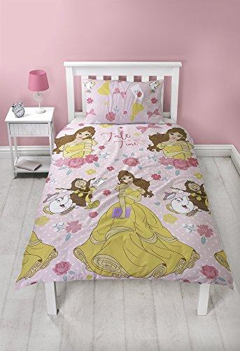 Disney Princess Belle - Juego de Funda de edredón, Microfibra, tamaño Individual, Color Rosa