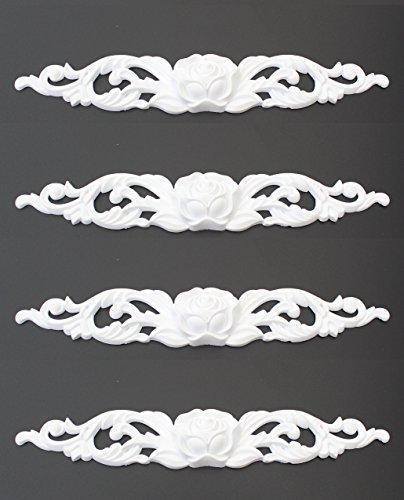Ornament für Stuckleisten Deckenleisten Kunststoff unlackiert, weiß - Moderne Ornamente in verschiedenen Motiven (4er Set, Style 7, 26x4x1cm)