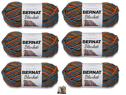Bernat Blanket Yarn - 6 Pack with Pattern (Cozy Cabin)