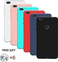 6x Funda Huawei P8 Lite 2017, Yidaxing Funda Suave TPU Silicona Carcasa Flexible Goma Mate Protectiva Funda Caramelo Color con un total de 6 Colores(Negro,Azul,Rojo,Verde,Rosa, Transparente)