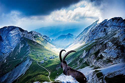 Rompecabezas De 500 Piezas,Cabra En El Monte Pilatus Imagen De Bricolaje De Madera,Decoración Para El Hogar