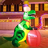 West Bay Christmas Inflatable Decorations, 6Ft (Height) x5.9Ft (Length) Inflatable Dinosaur Built-in LED Lights, Tethers, Stakes for Outdoor Indoor Yard Lawn Decorations