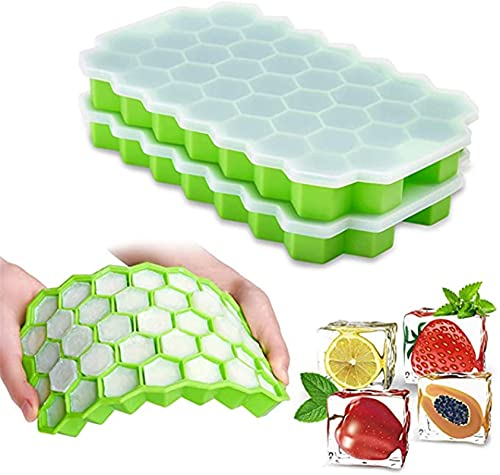 Silicone Ice Cube, Honeycomb Shape Ice Cube Tray, Silicone Mold And Lid Ice Cream, Whiskey Cocktail Cold Drink, Household Baby Food Box