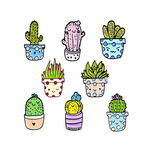 Cactus Anime Cartoon Enamel Pins Outdoors Pin Cute Plants Lapel Pin 8PCS for Jacket Backpack Handbag Clothes Pants (Cactus)