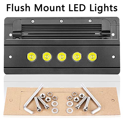 OFFROADTOWN Flush Mount LED Lights, 2pcs 8'' 100W Driving Lights LED Work Light Flush LED Light Bar LED Pods Super Bright Fog Lights Off Road Lights for Truck SUV Boat 4x4 Grill Mount