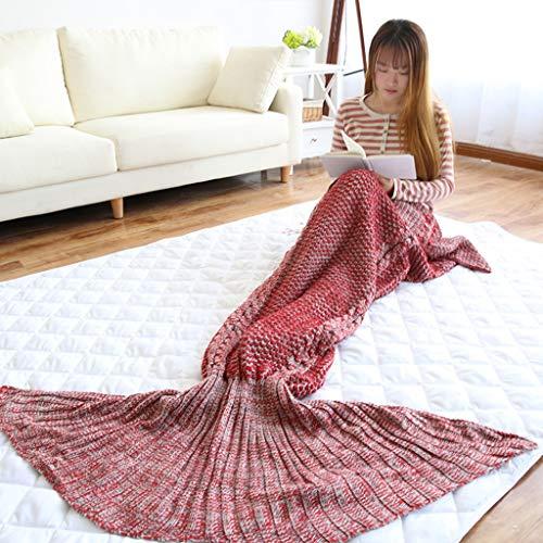 Meerjungfrau Decke Häkeln Handbuch Weich Waage Vier Jahreszeiten Schlafsack Decken Für Kinder Oder Erwachsene, Klimadecke (Color : Red)