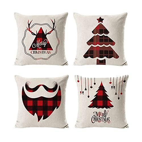 HIOODJO 4 fundas de cojín de Navidad para sofá cama, funda de cojín de Nochebuena, funda de almohada con cremallera oculta
