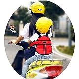 Vine Niño Arneses de seguridad Niños Portador Correa de Cinturón de Seguridad reflectante ajustable de Asiento con Hebillas para Vehículo Eléctrico Moto Motocicleta(rojo)