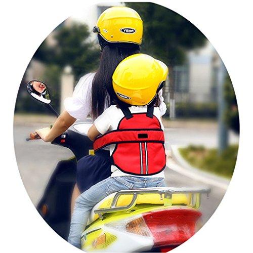 seggiolino moto per bambini Vine Cintura di sicurezza bambini di sicurezza per moto/auto elettrica/Bicicletta regolabile(Rosso)