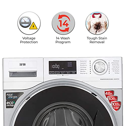 IFB 8kg 5 Star Fully-Automatic Front Loading Washing Machine (Senator WXS, Silver, 3D Wash Technology,Aqua Energie,Anti- Allergen,In-built heater)