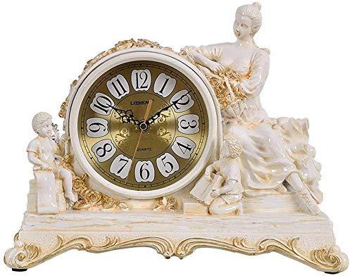 LHQ-HQ Reloj de mesa de resina europea, retro, decoración de sala de estar, reloj de escritorio americano, silencioso, no tictac, fácil de leer con esfera de cristal (color marrón