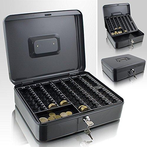 Geldkassette 30 cm groß flach abschließbar Münz Geld Zählbrett Kasse Dunkelgrau 300mm x 240mm x 90mm (B/T/H)