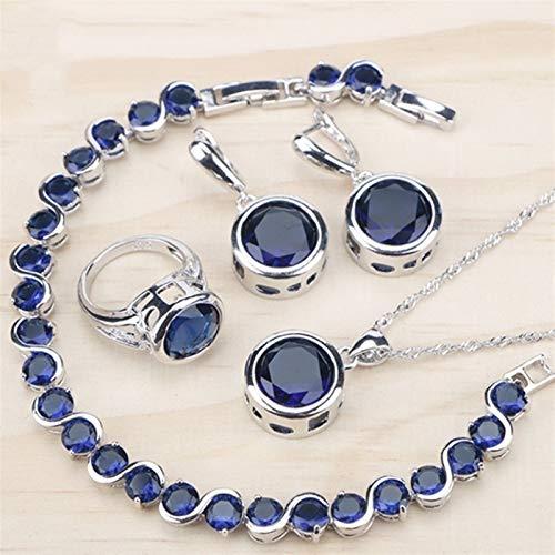 XCHJY Ladies Silver 925 Conjuntos de Joyas Collar Colgante para Mujeres Azul Cubic Zirconia Anillos Pulseras Pendientes Pendientes Colgante Collar Conjunto Caja