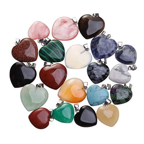 BESPORTBLE 20 UNIDS Piedras para DIY Joyería Fabricación de Pulsera Collar Accesorios Colgantes en Forma de Corazón para el Día de la Madre Regalo de San Valentín Navidad