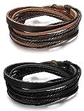 sailimue 2PCS Bracelet Cuir pour Homme Femme Corde Tissu Bracelet Manchette Tressé...