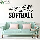 nkfrjz Eat Sleep Play Softball Vinyl Fototapete für Poster wandaufkleber kinderzimmer 105x57cm