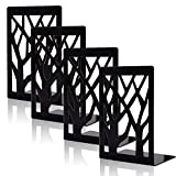 shikaman Metal Bookends-Heavy Book Ends for Shelves,Book Shelf Holder Home Decorative,Black Bookend Supports (4)