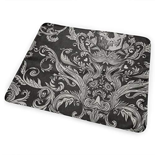 Dread Damask In Crisp Black Linen Bed Pad Washable Waterproof Urine Pads for Baby Toddler Children and Adults 31.5 X 25.5 inch
