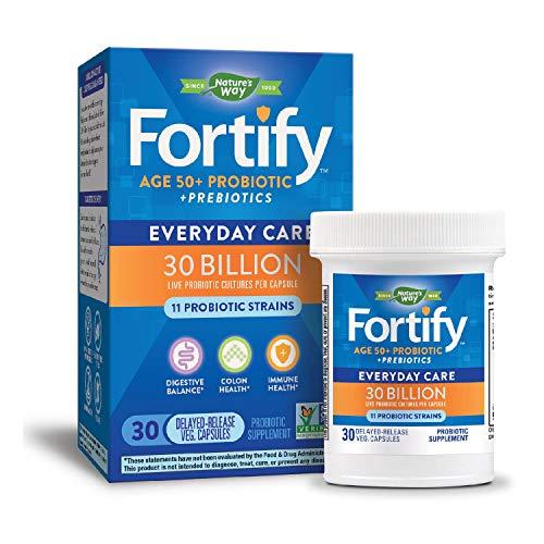 Nature's Way Fortify 50+ Probiotic, 30 Billion Live Cultures, 11 Strains, Prebiotics, 30 Capsules