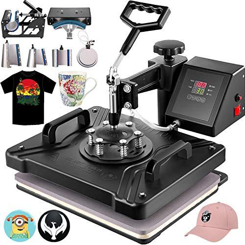 VEVOR 8 en 1 Prensa de Calor, Máquina de Transferencia de Calor de Tazas de 38 X 30 cm, Máquina de Impresión de Calor Giratoria para Tazas y Camisetas con Pantalla LED Digital de Color Negro