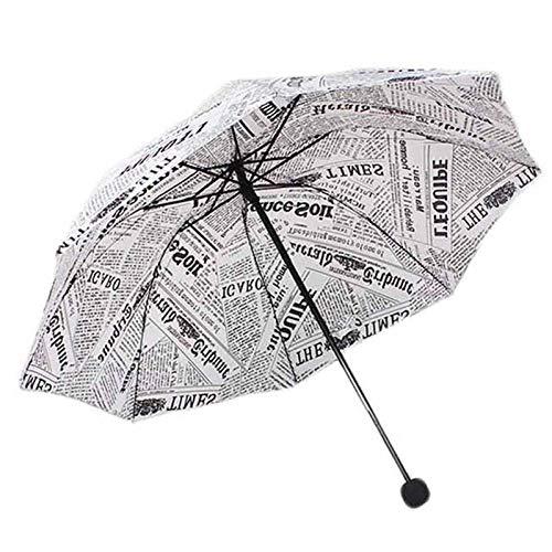 Paraguas Originalidad Periódico Tres Paraguas De Estilo Plegable Lluvia Mujeres/Hombres Moda Barata