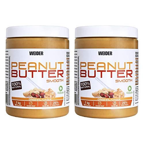 Weider Peanut Butter Duo Pack – 2 x 1000 gr. 100% cacahuete triturado, 100% natural, 100% vegano, Blanco