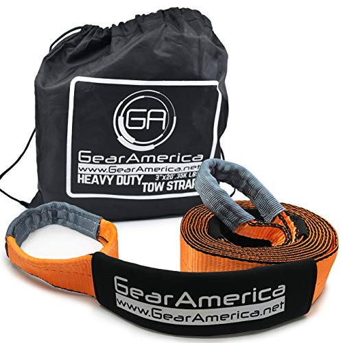 GearAmerica Heavy Duty 20 ft Tow Strap   35,000 lbs (17.5 Tons) Strength   Use for Emergency 4x4 Towing, Recovery or Winch Extension   Triple Reinforced Loops, Protective Sleeves & Storage Bag