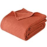 PHF 100% Cotton Waffle Weave Blanket Queen Size 90'x90' - Pre-Washed Soft Lightweight Breathable Blanket for All Season -Perfect Blanket Layer for Couch Bed Sofa - Elegant Home Decoration - Rust Red