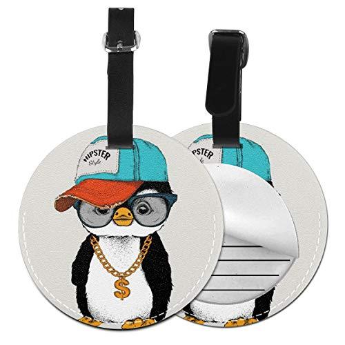Slaytio Customizable Penguins In Hip Hop Hats Round Luggage Label Suitcase, Pvc Wristband Suitcase Label