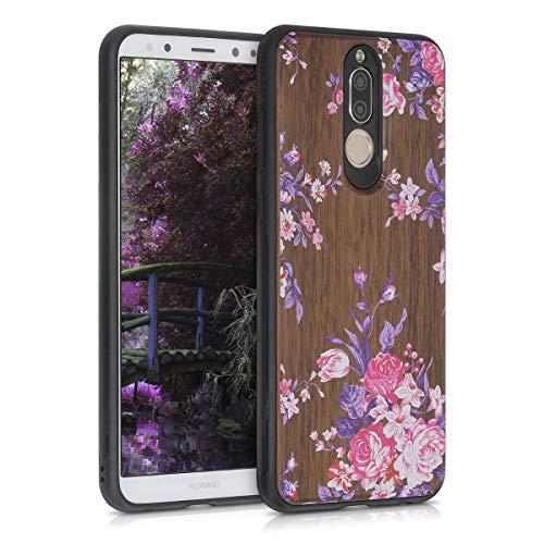 kwmobile Funda Compatible con Huawei Mate 10 Lite - Funda de Madera de Nogal Flores sobre Madera Rosa Claro Violeta marrón