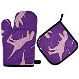 ATONO Dinosaurs Pink T-Rex Oven Mitts & Potholders Stes Washable Non-Slip Insulated Hot Grilling Gloves for Kitchen Dining BBQ Baking Cooking