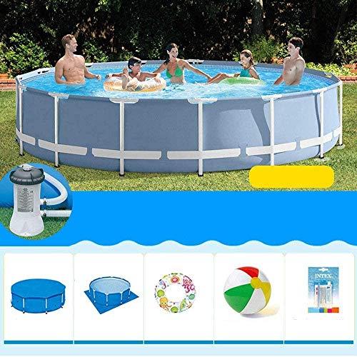 Frame Zwembaden 305 * 76 Cm Ronde Metalen Frame Zwembad met Filterpomp Grote Beugel Zwembad Mobiele Outdoor Volwassen Familie Baby Kind Peuterbad Perfect
